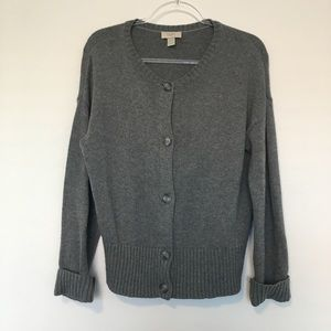 LOFT Gray Cardigan Sweater Wool, Cotton polyester
